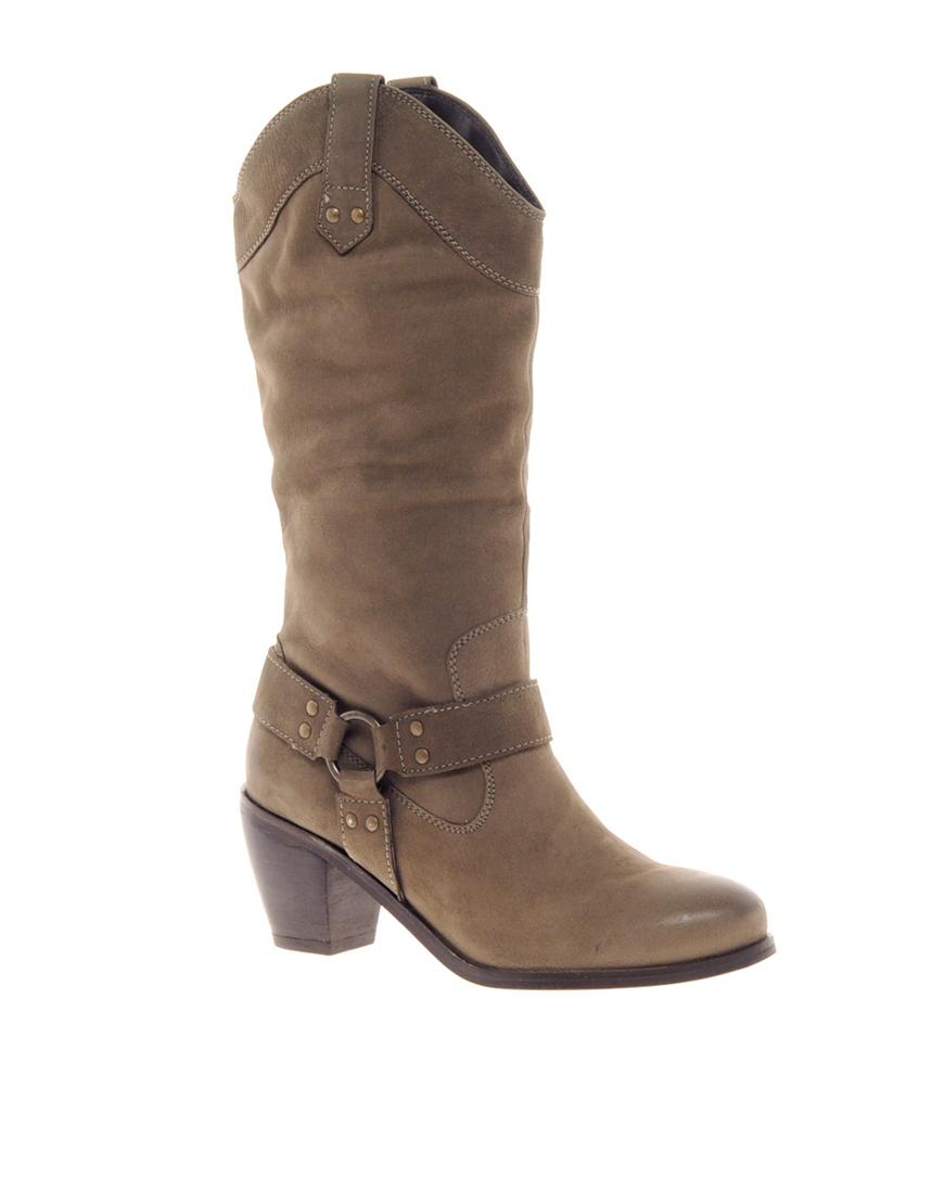 dune jaywick knee high western boots in brown grey lyst