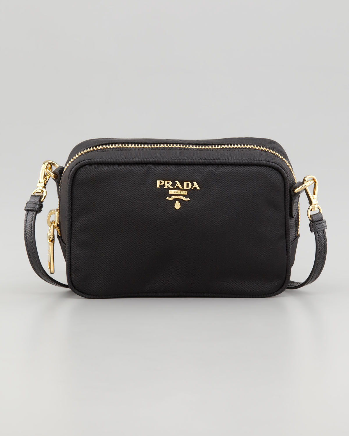 460997d56b6c ... czech lyst prada tessuto small cross body bag in black bd3eb cf709