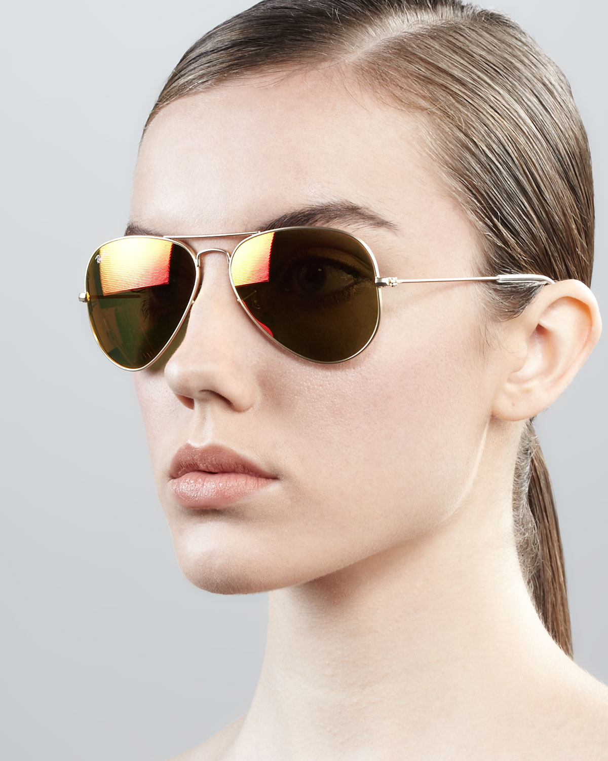 Lyst Ray Ban Aviator Sunglasses With Flash Lenses In Metallic