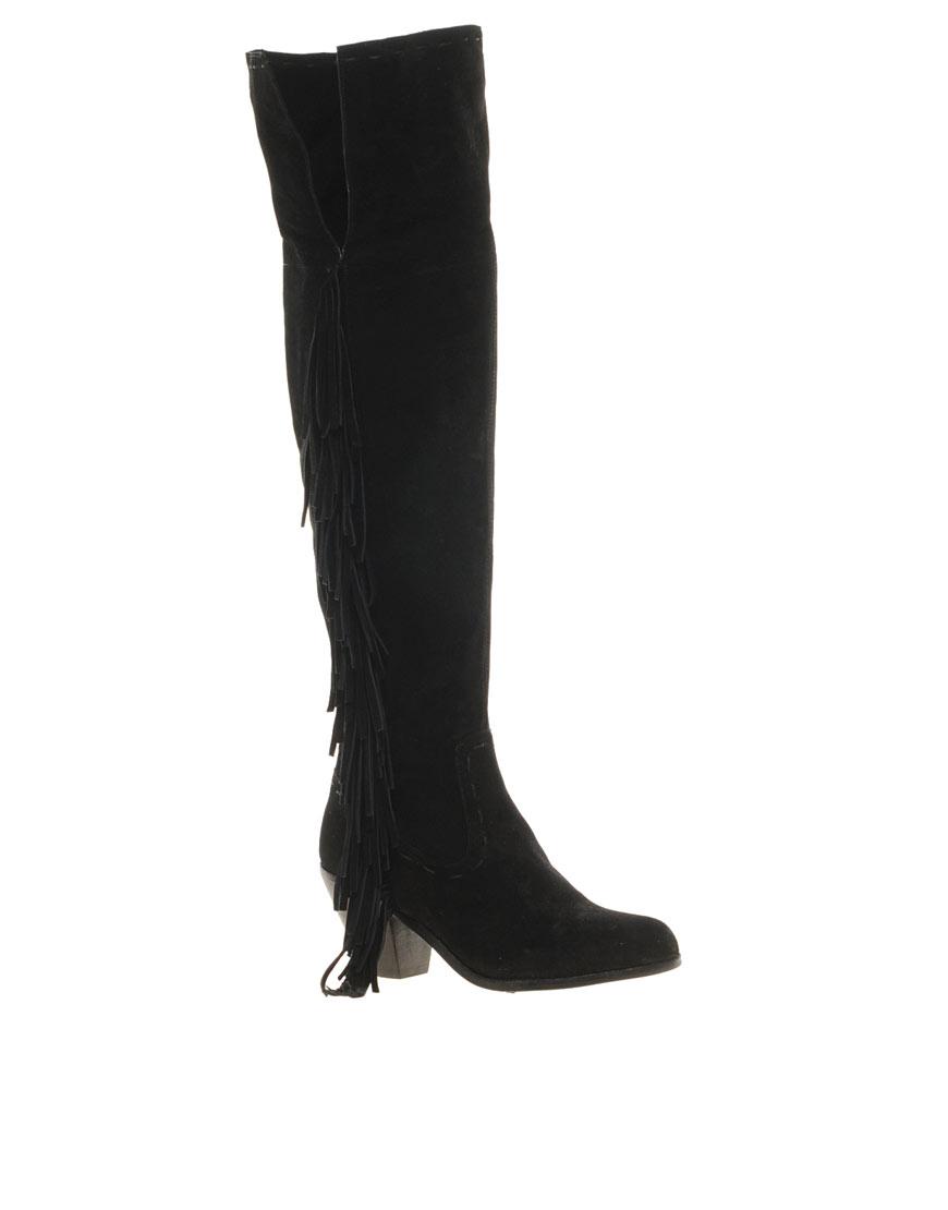 c34e97e23b4a4 Lyst - Sam Edelman Luella Fringe Knee Boots in Black