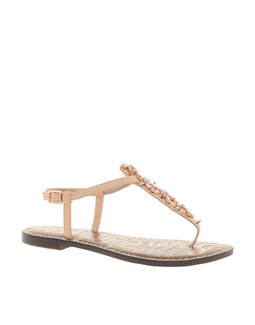 Sam Edelman Gwyneth Jewelled Flat Sandals In Black