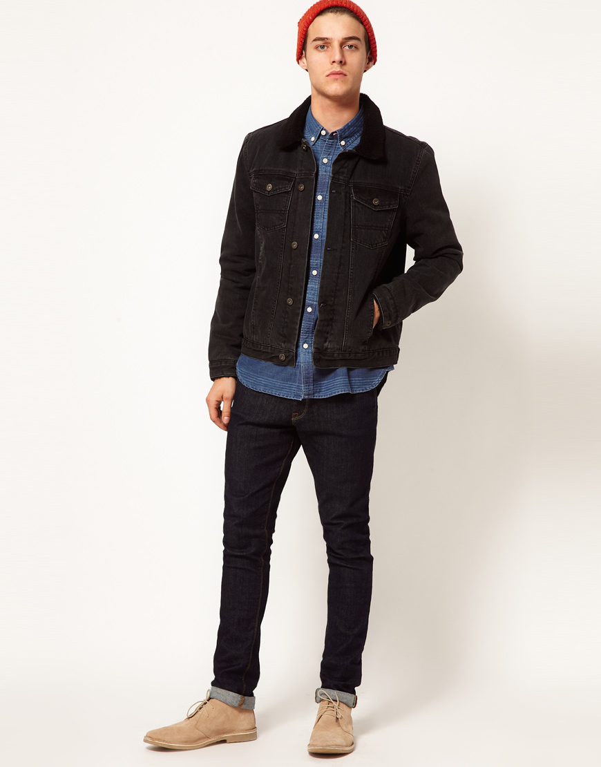 a2a5c748d3d2 Lyst - ASOS Denim Jacket with Borg Collar in Black for Men
