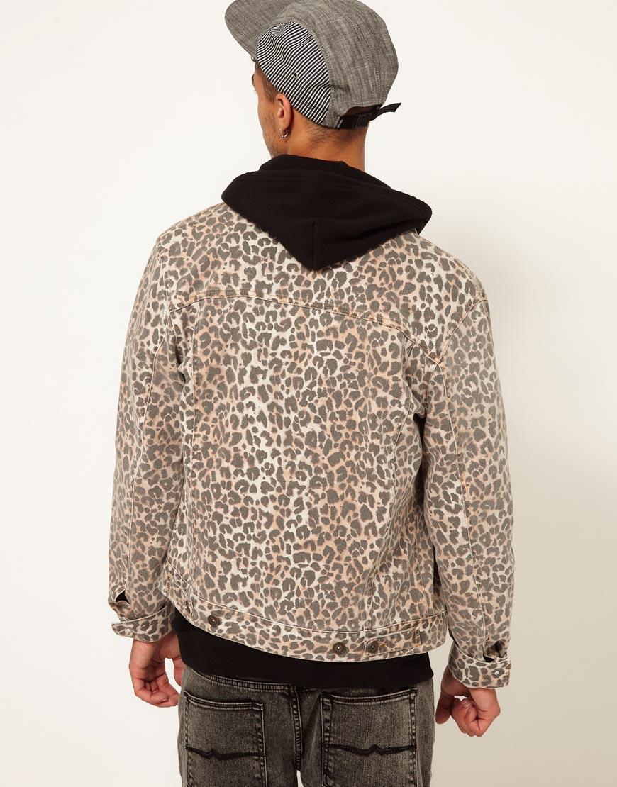 Asos Asos Denim Jacket With Leopard Print In White