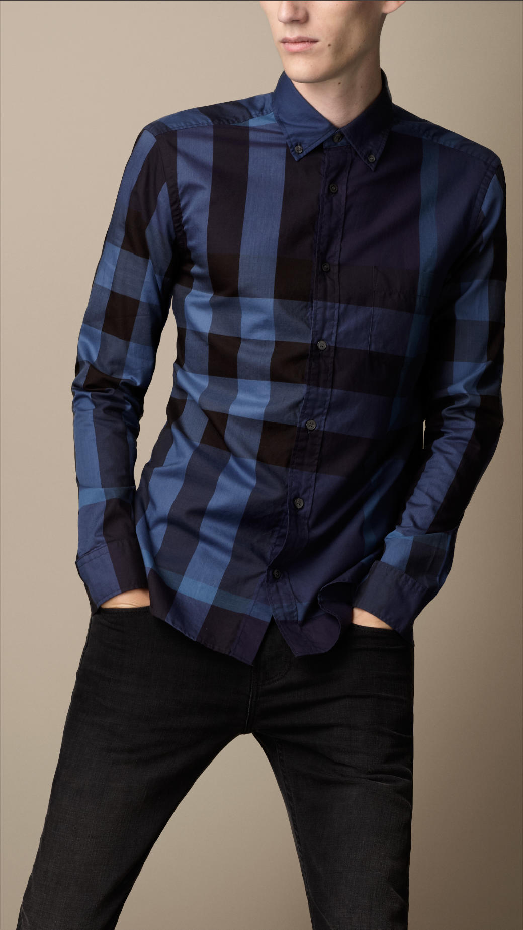 Burberry blue giant exploded check cotton shirt for men for Mens big and tall burberry shirts