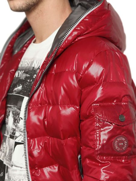 Calvin Klein Jeans Shiny Down Jacket In Red For Men Lyst