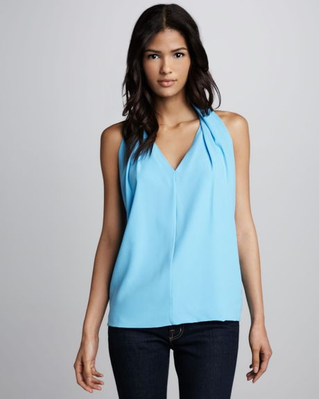 Diane Von Furstenberg Reagan Draped Sleeveless Top Cornflower in Blue