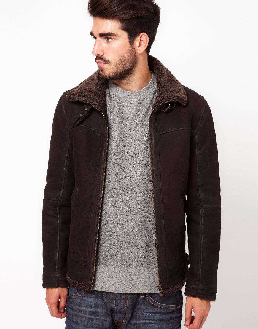 Edwin Shearling Jacket in Brown for Men | Lyst