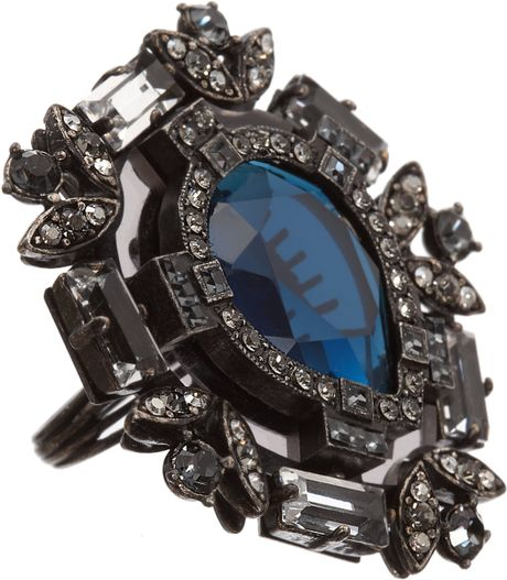 Lanvin Crystal Barbara Ring in Silver (pear)