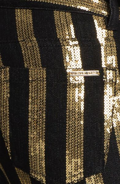 Michael Michael Kors Sequin Striped Skinny Jeans In Gold
