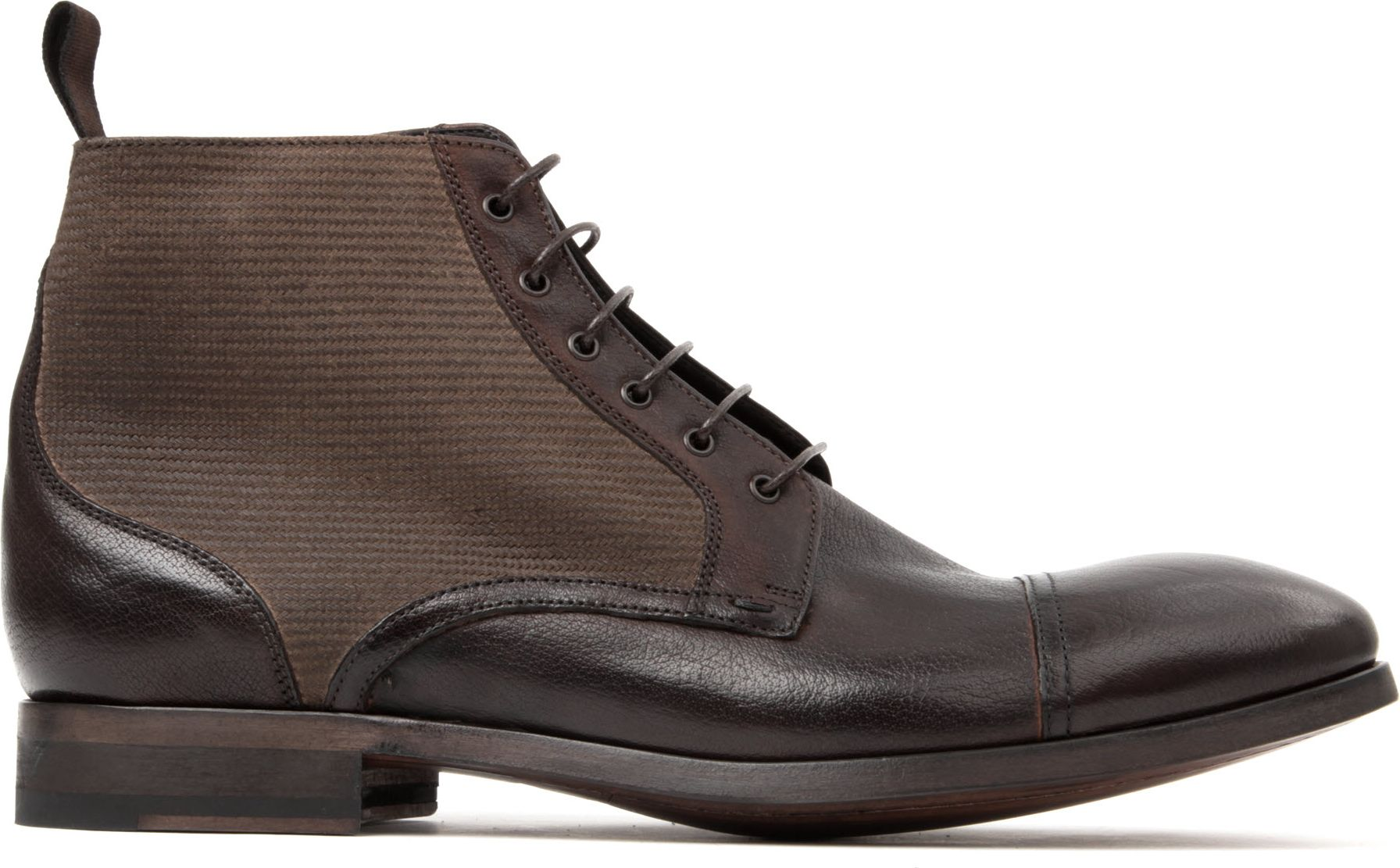 paul smith julius leather and canvas boots in brown for