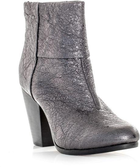 Rag & Bone Newbury Scaleeffect Boots in Silver (gunmetal)