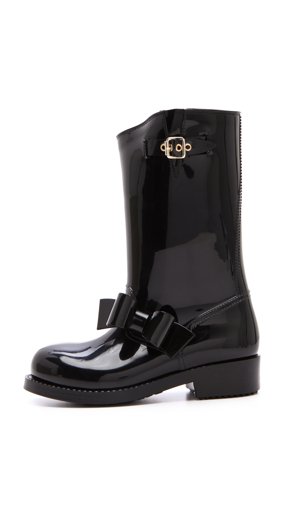 687b8bf87438 Lyst - RED Valentino Bow Moto Rain Boots in Black