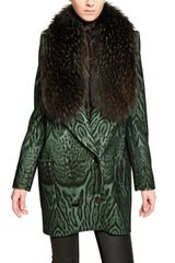 Roberto Cavalli Raccoon Fur Printed Wool Cloth Coat