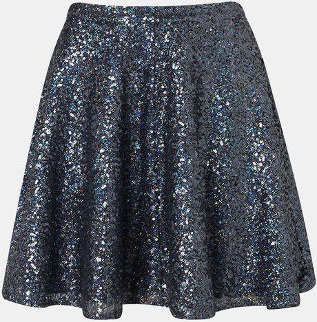 Topshop Sequin Skater Skirt in Blue