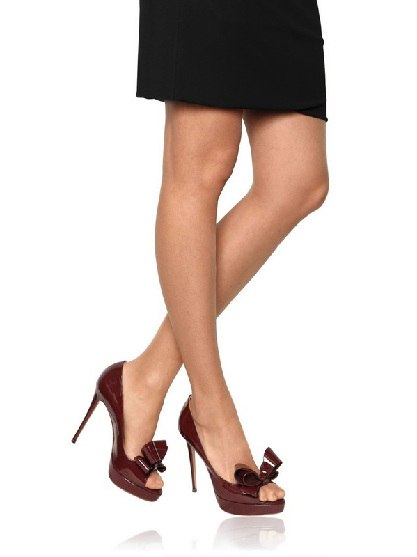 Lyst Valentino 120mm Patent Bow Open Toe Pumps In Brown