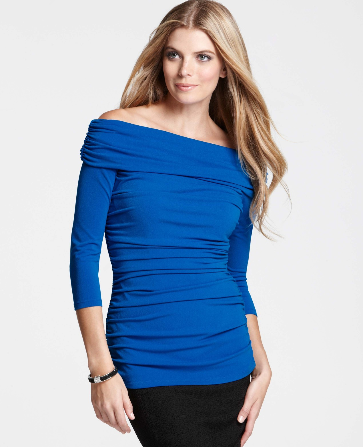eb5604d547fa3 Lyst - Ann Taylor Ruched Off The Shoulder Top in Blue