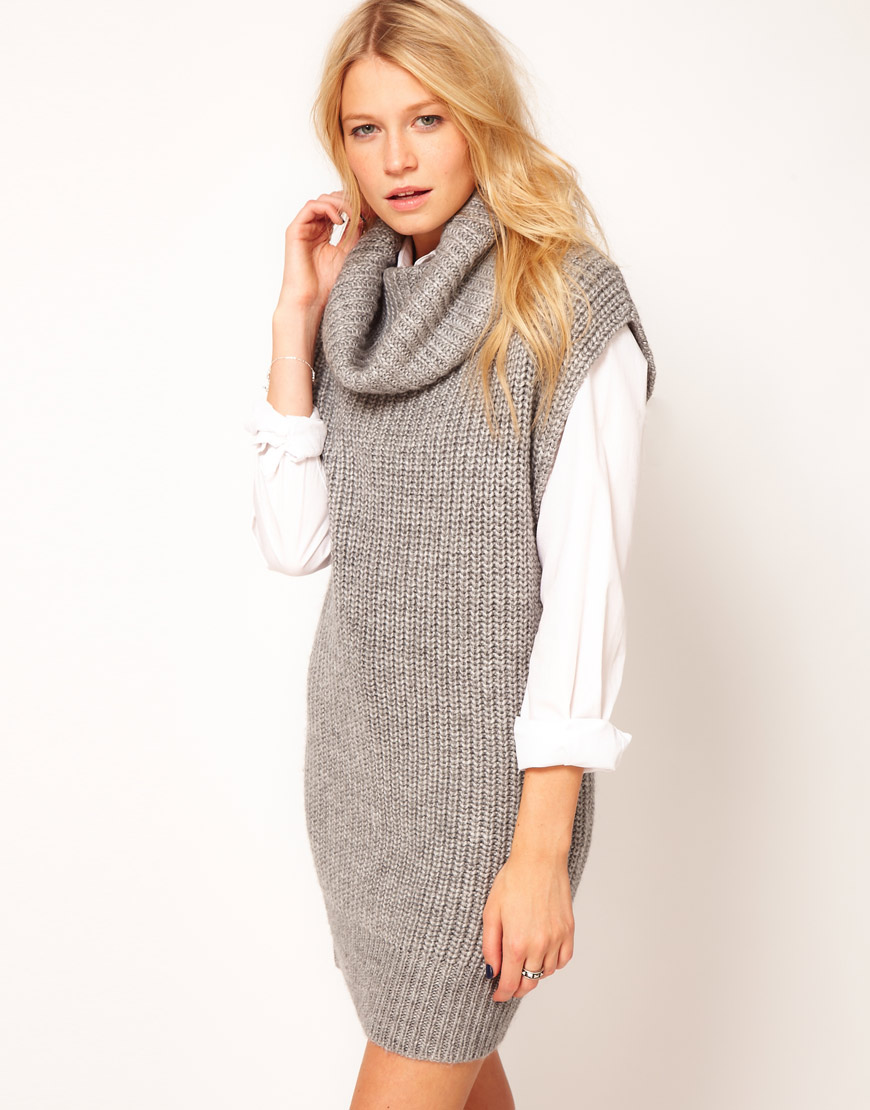 Asos collection Sleeveless Cowl Neck Dress in Gray | Lyst