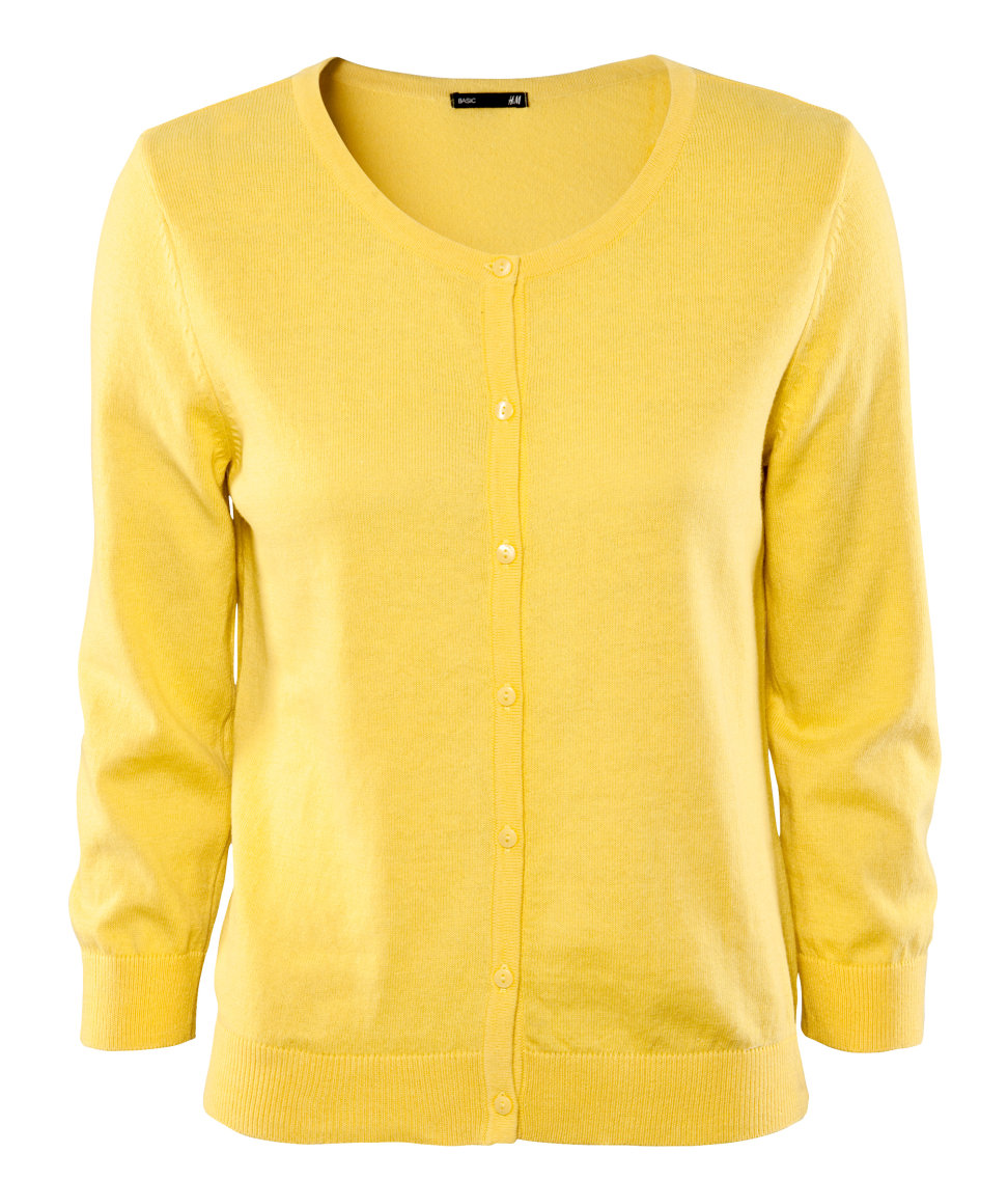 H&m Cardigan in Yellow | Lyst