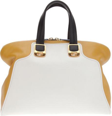Fendi Twotone Tote Bag in White