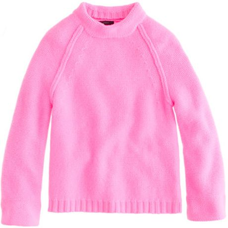 J.crew Collection Cashmere Funnelneck Sweater in Pink (neon flamingo)