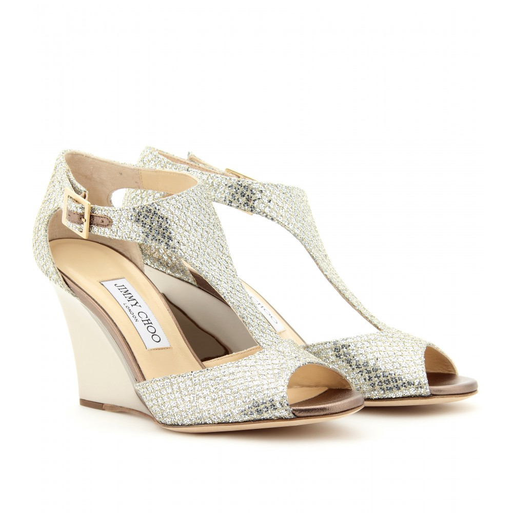 7630cb5f46b Jimmy Choo Metallic Token Glitter Wedge Sandals
