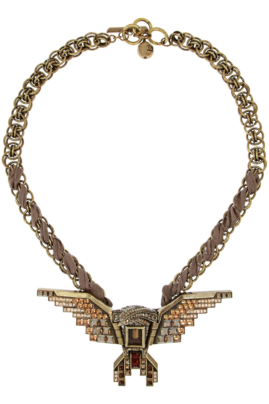 Lanvin Glass Crystal Eagle Necklace in Gold