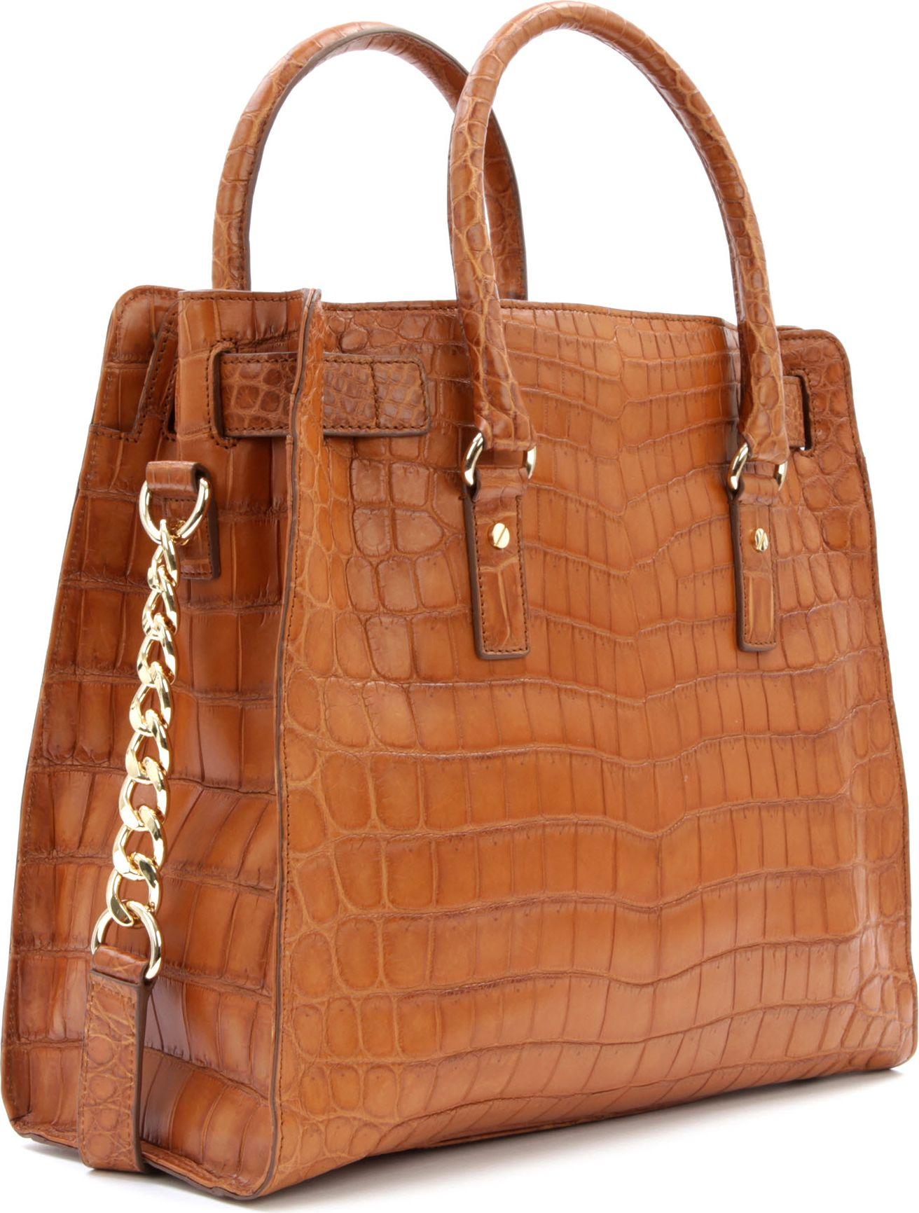 9106b904c851 Michael Kors Hamilton Croc Leather Tote in Brown - Lyst