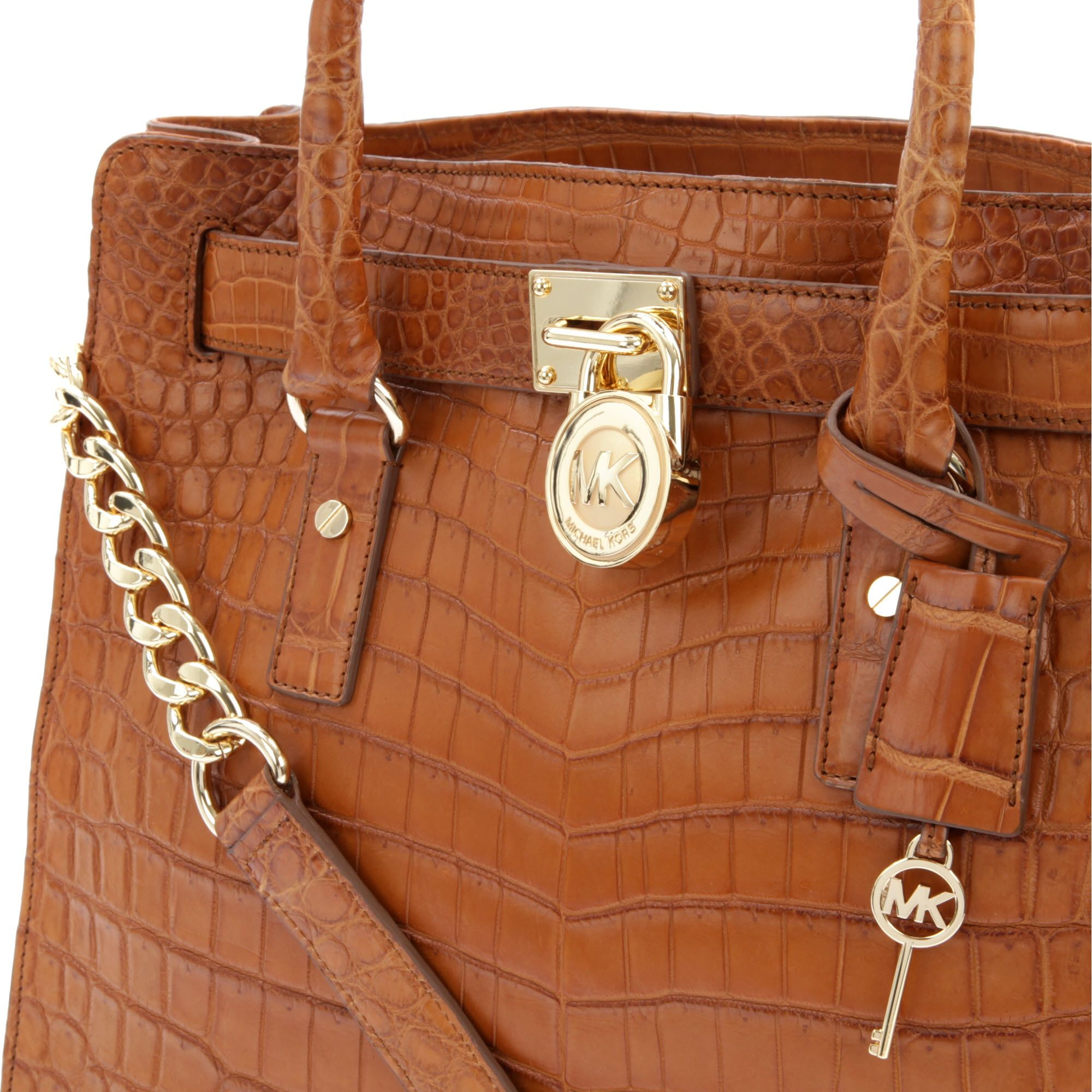 Michael Kors Hamilton Laukku : Michael kors hamilton croc leather tote in brown lyst
