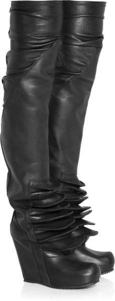 rick owens brancusi leather wedge thigh boots in black lyst