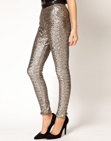 River Island Silver Sequin Pants in Silver   Lyst