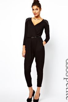 Asos Exclusive Jumpsuit with Wrap Front and Studs - Lyst