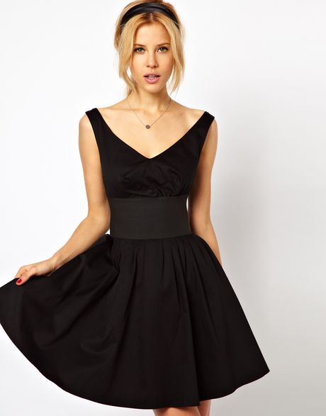 Asos Jumpsuit With Wide Leg And Tie Detail in Black