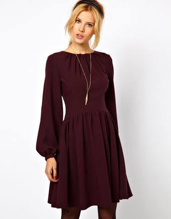 ASOS Collection Skater Dress with Blouson Sleeve - Lyst
