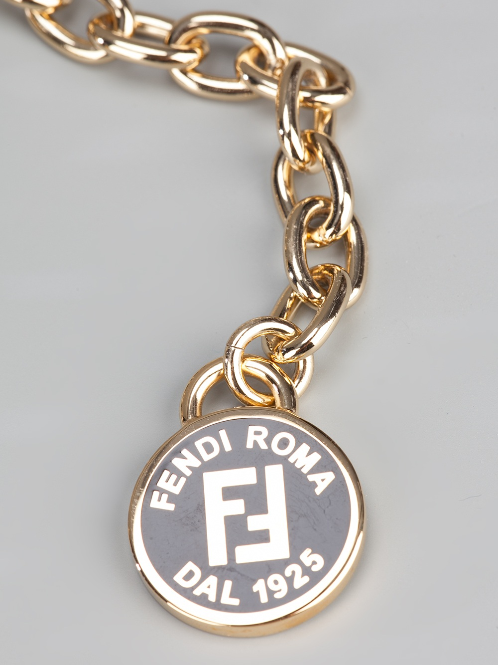 Lyst Fendi Leather Woven Necklace In Metallic
