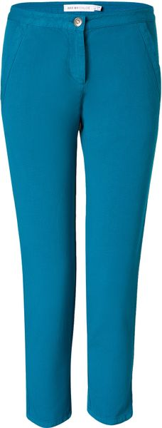 See By Chloé Petrol Cotton Skinny Capri Pants in Blue (petrol)