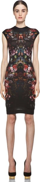 Alexander Mcqueen Cap Sleeve Floral Pencil Dress in Black in Floral (black) - Lyst