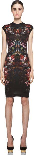 Alexander Mcqueen Cap Sleeve Floral Pencil Dress in Black in Floral (black)