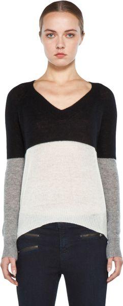 Enza Costa Cashmere Colorblock V Neck Sweater in Black Grey Bleach in Black