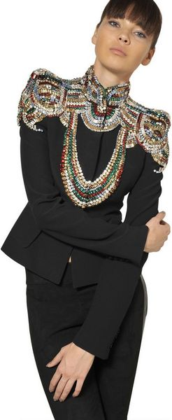 Alexander Mcqueen Jewelled Leaf Viscose Crepe Jacket in Black