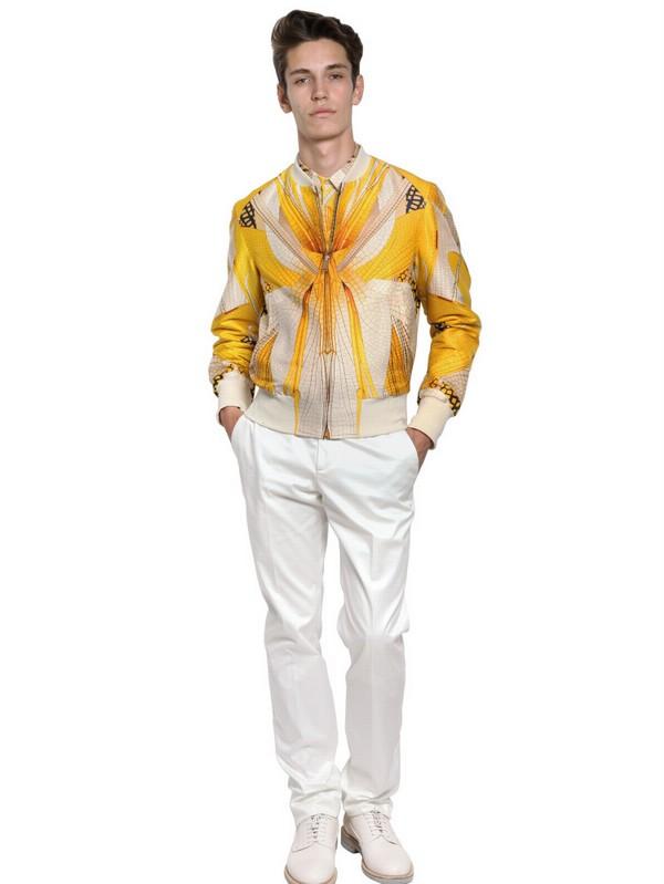 Alexander McQueen Dragonfly Wool Silk Bomber Jacket in Ivory (White) for Men
