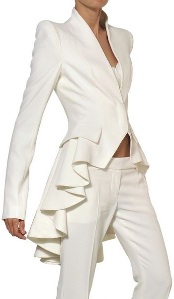 Alexander Mcqueen Leaf Viscose Crepe Flared Trousers in White