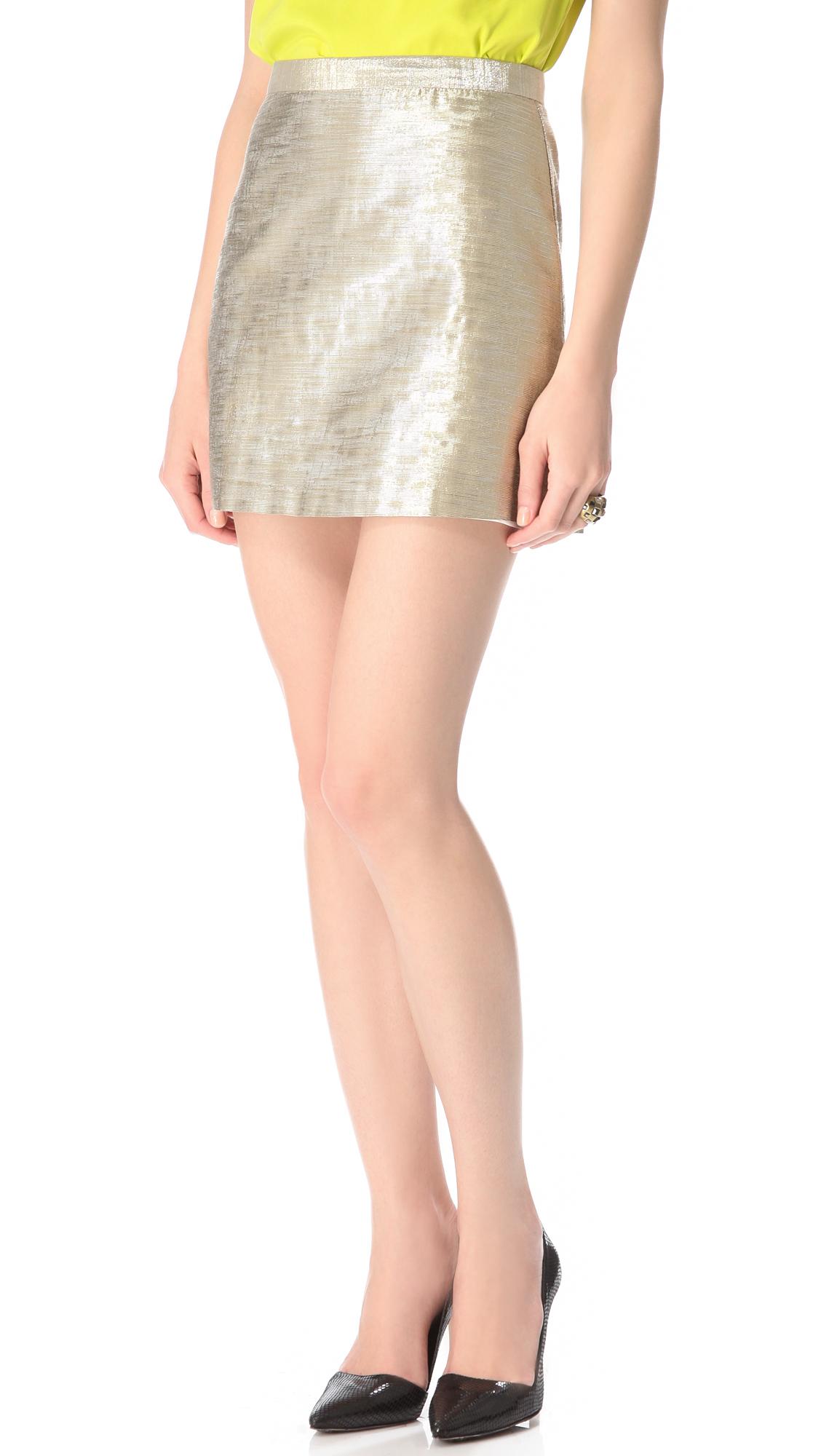 metallic a line skirt in silver lyst