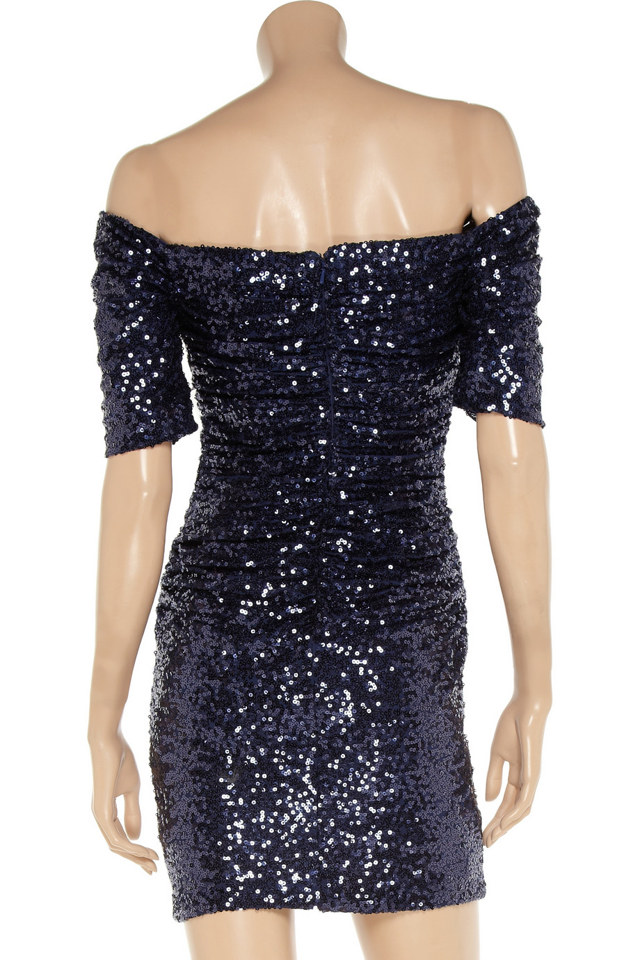 Badgley Mischka Synthetic Ruched Sequined Dress In Navy