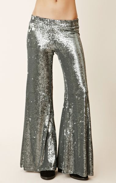 Blu Moon Sequin Bell Pants in Silver   Lyst