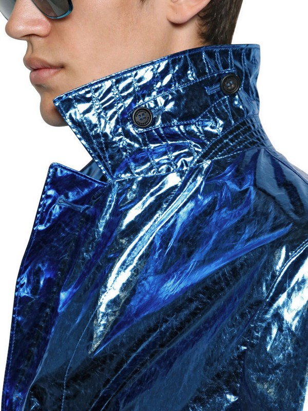 Burberry Prorsum Metallic Paper Silk Oversize Trench Coat