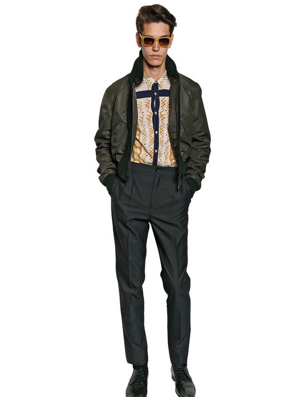 Burberry Prorsum Nylon Wool Knit Bomber Jacket in Green for Men