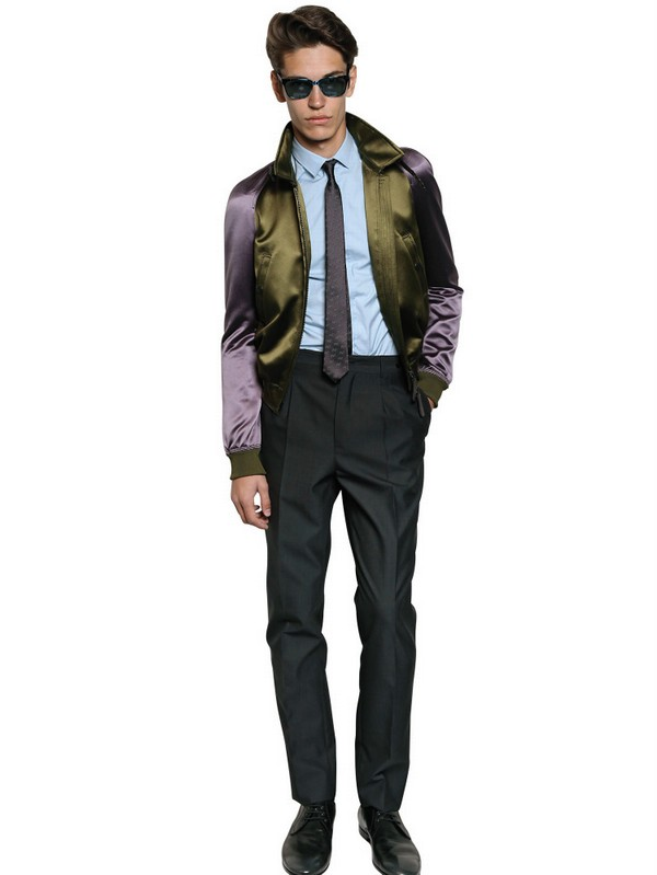 Burberry Prorsum Viscose Silk Satin Bomber Jacket in Green for Men