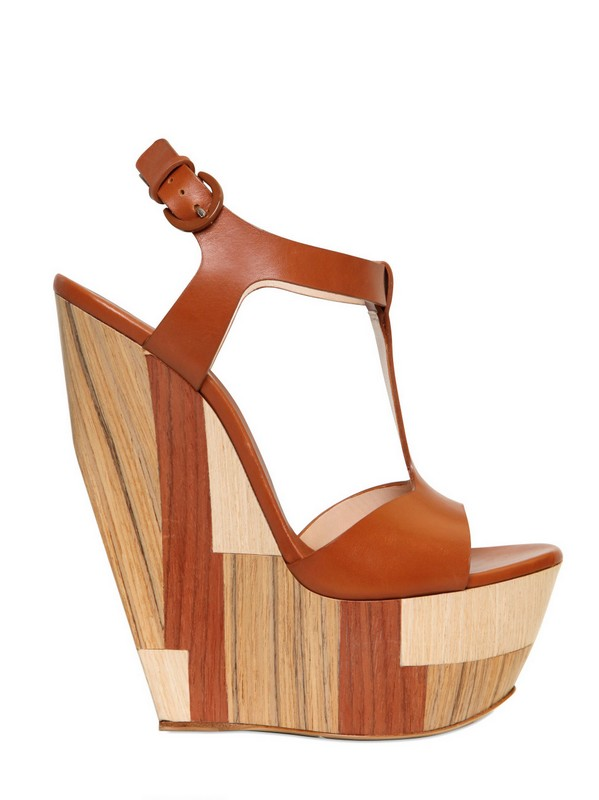 Casadei Wood Leather Tbar Wedges In Tan Brown Lyst