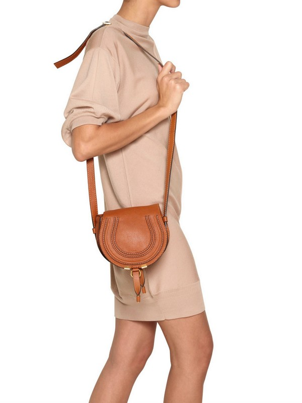 Chlo�� Small Marcie Leather Cross Body Bag in Brown (tan) | Lyst