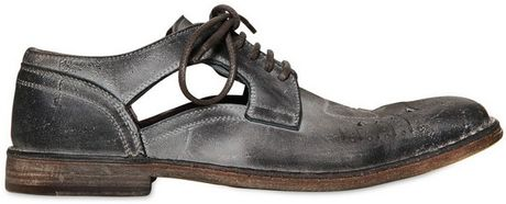 Dolce & Gabbana Siracusa Stone Wash Crust Leather Shoes in Gray for Men (grey)